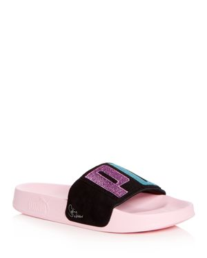 Puma x Sophia Webster Women's Leadcat Embroidered Suede Pool Slide Sandals