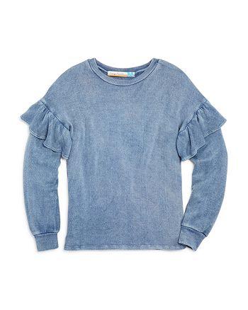Vintage Havana - Girls' Ruffle-Sleeve Textured Sweatshirt Top - Big Kid