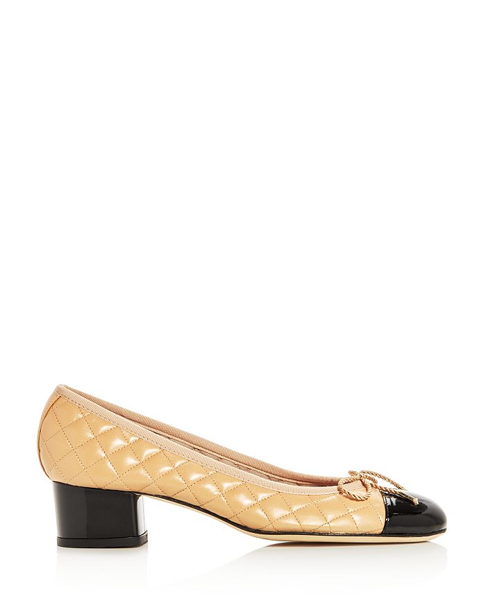 eb4cd1a8367 Paul Mayer Women s Titou Quilted Leather Cap Toe Block Heel Pumps ...