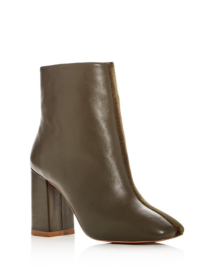 JAGGAR - Women's Velvet & Leather Block Heel Booties
