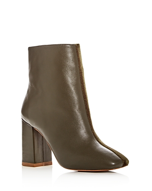 Jaggar Women's Velvet & Leather Block Heel Booties