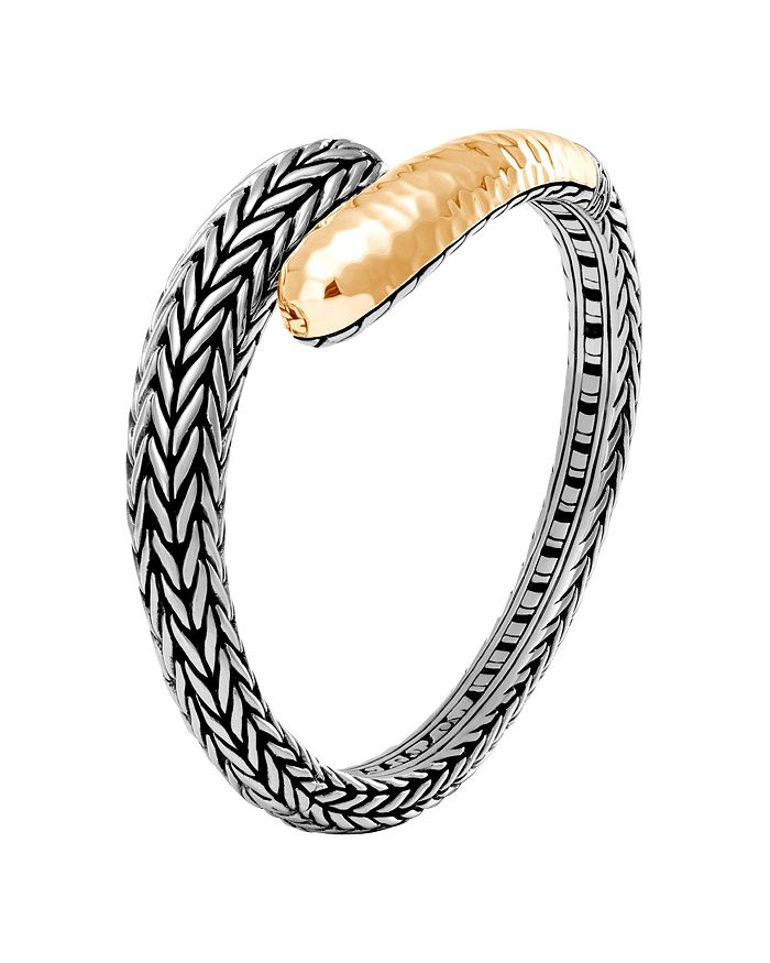 JOHN HARDY - 18K Yellow Gold and Sterling Silver Classic Chain Hammered Small Kick Cuff