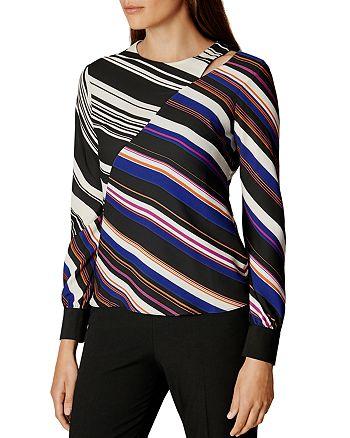 KAREN MILLEN - Spliced-Stripe Print Top