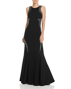 Adrianna Papell Mesh-Back Beaded Gown