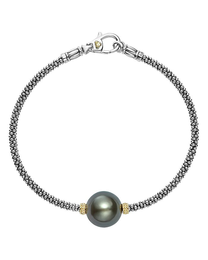 LAGOS - 18K Gold and Sterling Silver Luna Cultured Tahitian Pearl Single Station Bracelet