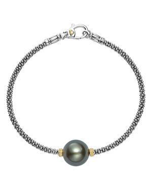 Lagos 18K Gold and Sterling Silver Luna Cultured Freshwater Black Pearl Single Station Bracelet