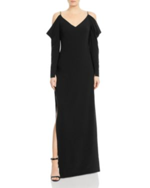 Halston Heritage Draped Cold-Shoulder Gown