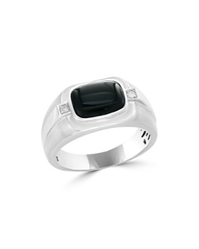 Bloomingdale's - Diamond and Black Agate Men's Band in 14K White Gold, .04 ct. t.w. - 100% Exclusive