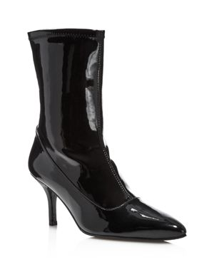 Stuart Weitzman Clingy Patent Leather Pointed Toe Booties