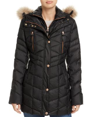 MARLEY FAUX FUR TRIM PUFFER COAT
