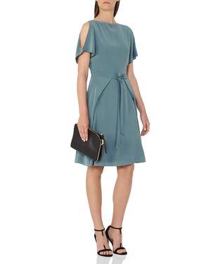 Reiss Mira Cold-Shoulder Silk Dress