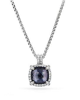 David Yurman - Sterling Silver Châtelaine Pavé Bezel Pendant Necklace with Gemstones & Diamonds, 11mm