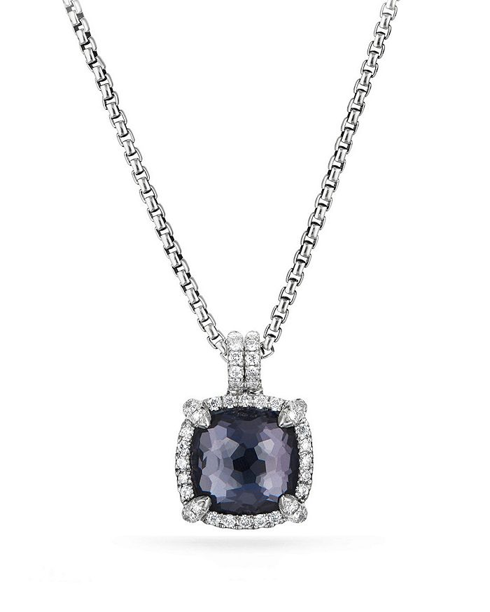 David Yurman - Sterling Silver Châtelaine Pavé Bezel Pendant Necklace with Gemstones & Diamonds, 11mm