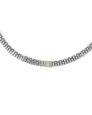 Lagos 18K Gold and Sterling Silver Diamond Lux Necklace, 18