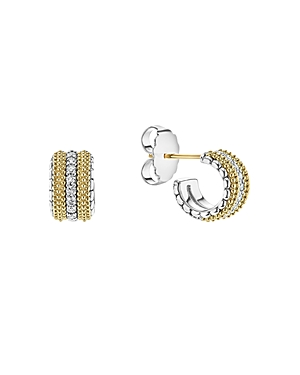 Lagos 18K Gold and Sterling Silver Diamond Lux Small Hoop Earrings-Jewelry & Accessories
