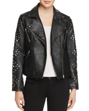 En Creme Studded Faux-Leather Jacket