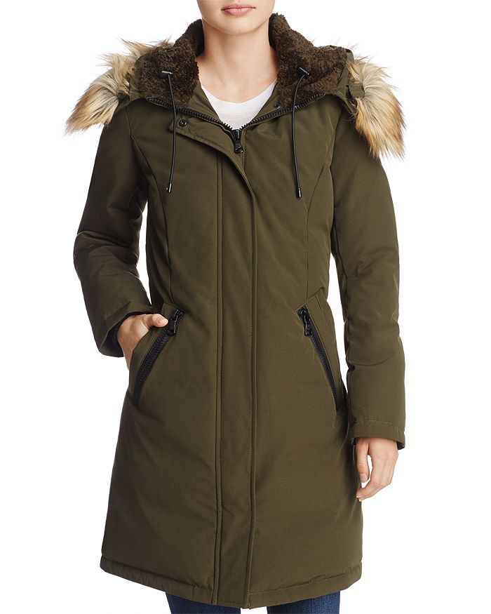 Fur Trim Parka Coat