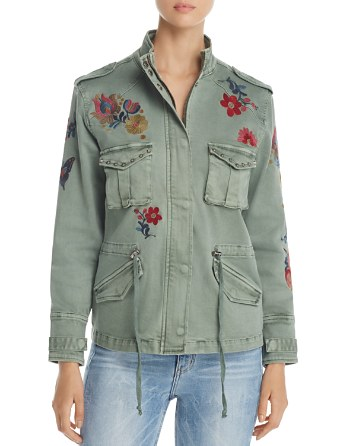 $Billy T Floral Embroidered Stud Military Jacket - Bloomingdale's