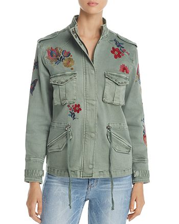 Billy T - Floral Embroidered Stud Military Jacket