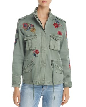 Billy T Floral Embroidered Stud Military Jacket