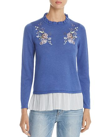 Design History - Floral Embroidered Ruffle Sweater