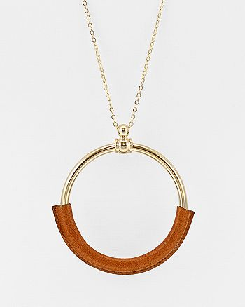 Argento Vivo - Leather Open Circle Pendant Necklace, 30""