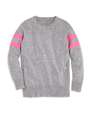 Aqua Girls' Athletic Stripe Cashmere Sweater, Big Kid - 100% Exclusive