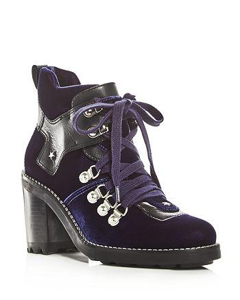 Isa Tapia - Women's Sage Velvet High Block Heel Booties