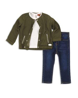7 for All Mankind Girls' Bomber Jacket, Tee & Jeans Set - Little Kid
