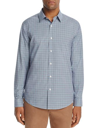 Theory - Masked Gingham Long Sleeve Button-Down Shirt