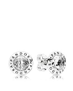 PANDORA Sterling Silver & Cubic Zirconia Radiant Logo Stud Earrings - Bloomingdale's_0