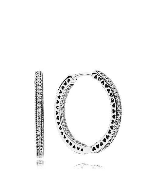 PANDORA - Earrings - Sterling Silver & Cubic Zirconia Hearts of Pandora Large Hoop Earrings