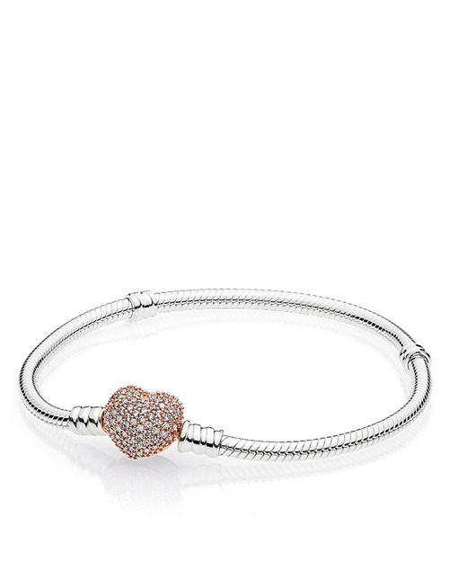 PANDORA - Sterling Silver & Cubic Zirconia Pavé Heart Bracelet