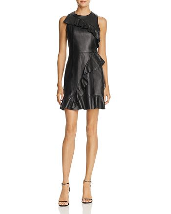 Parker Ruffled Leather Dress