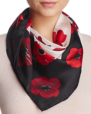 kate spade new york Falling Poppy Silk Square Scarf