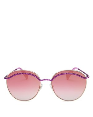 Marc Jacobs Embellished Mirrored Round Sunglasses, 57mm
