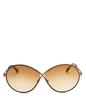 Tom Ford Rania Mirrored Oversized Round Sunglasses, 65mm