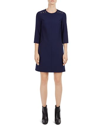 Gerard Darel - Neigh Button-Shoulder Shift Dress