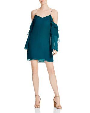 Haute Hippie Finale Silk Ruffle Sleeve Dress