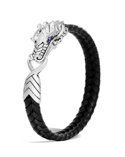 John Hardy - Men's Sterling Silver Legends Naga Bracelet with Braided Black Leather and Sapphire Eyes