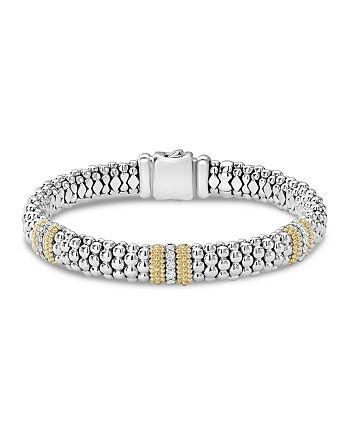 LAGOS - 18K Gold & Sterling Silver Diamond Lux Three Station Bracelet, 9mm