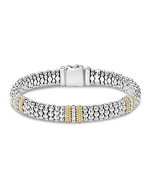 Lagos 18K Gold & Sterling Silver Diamond Lux Three Station Bracelet, 9mm