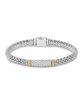 LAGOS - 18K Gold & Sterling Silver Diamond Lux Pavé Station Bracelet, 6mm