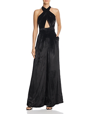 Milly Halter Cutout Velvet Jumpsuit