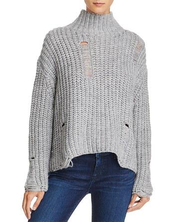 $PPLA Fonda Destroyed Mock Neck Sweater - Bloomingdale's