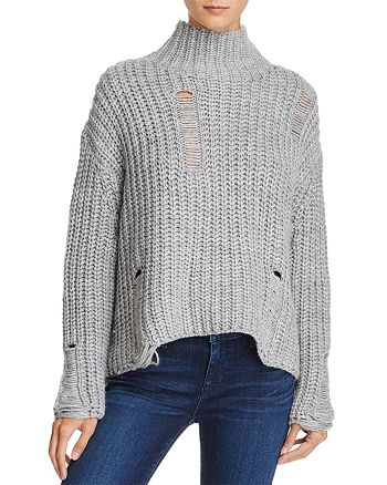 PPLA - Fonda Destroyed Mock Neck Sweater