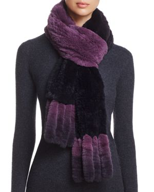 Maximlian Furs Fringed Rabbit Fur Knit Scarf - 100% Exclusive