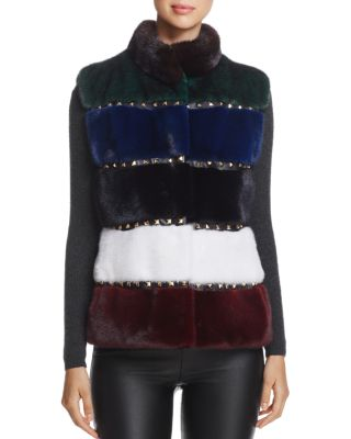 $Maximillian Furs Studded Kopenhagen Mink Fur Vest - 100% Exclusive - Bloomingdale's