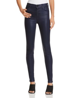 Maria High-Rise Coated Skinny Jeans, Coated Electric