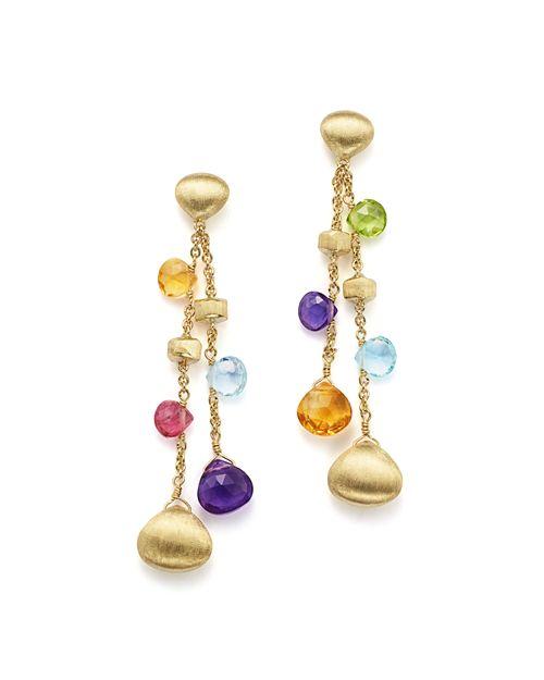 Marco Bicego - 18K Yellow Gold Paradise Gemstone Teardrop Double Strand Earrings